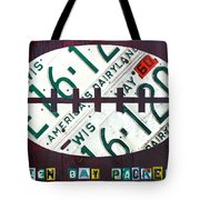 Green Bay Packers Football License Plate Art Tote Bag by Design Turnpike