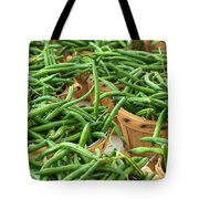 Green Beans In Baskets At Farmers Market Tote Bag by Teri Virbickis