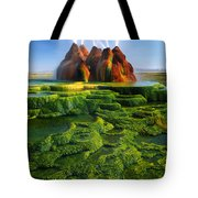 Green Fly Geyser Tote Bag by Inge Johnsson