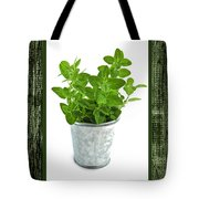 Green Oregano Herb In Small Pot Tote Bag by Elena Elisseeva
