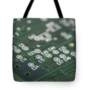 Green Printed Circuit Board Closeup Tote Bag by Matthias Hauser