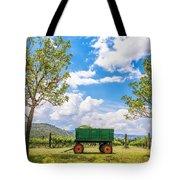 Green Wagon And Vineyard Tote Bag by Jess Kraft