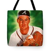 Greg Maddux Tote Bag by Dick Bobnick