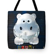 Grunt The Hippo License Plate Art Tote Bag by Design Turnpike