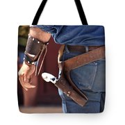 Gunfighter In Blue Tote Bag by Art Block Collections
