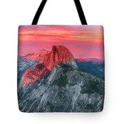 Half Dome Sunset From Glacier Point Tote Bag by John Haldane