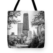 Hancock Building Through Trees Black And White Photo Tote Bag by Paul Velgos