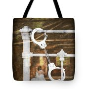 Handcuffs On Bed Tote Bag by Amanda Elwell