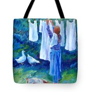 Hanging The Whites  Tote Bag by Trudi Doyle