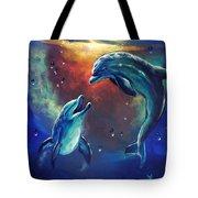 Happy Dolphins Tote Bag by Marco Antonio Aguilar