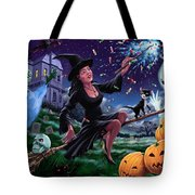 Happy Halloween Witch With Graveyard Friends Tote Bag by Martin Davey