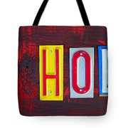 Happy Holidays License Plate Art Letter Sign Tote Bag by Design Turnpike