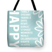 Happy Things Blue Tote Bag by Linda Woods
