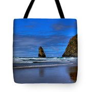 Haystack Rock And The Needles IIi Tote Bag by David Patterson