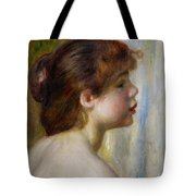 Head of a young woman Tote Bag by Pierre Auguste Renoir
