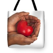 Heart In Hands Tote Bag by Chevy Fleet