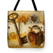 Heart Shaped Lock With Key Tote Bag by Tracey Harrington-Simpson