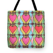 Hearts A'la Stained Glass Tote Bag by Mag Pringle Gire