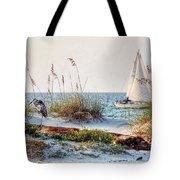 Heron and Sailboat Larger Sizes Tote Bag by Michael Thomas