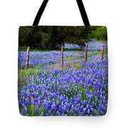 Hill Country Heaven - Texas Bluebonnets Wildflowers Landscape Fence Flowers Tote Bag by Jon Holiday