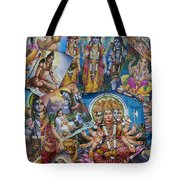 Hindu Posters Tote Bag by Tim Gainey