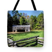 Historical Cantilever Barn At Cades Cove Tennessee Tote Bag by Kathy Clark
