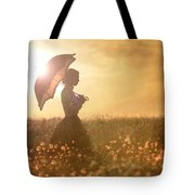 Historical Woman With Parasol In A Meadow At Sunset Tote Bag by Lee Avison