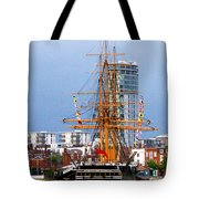 Hms Warrior Portsmouth Tote Bag by Terri Waters