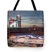 Hockey At The Ballpark Tote Bag by David Rucker