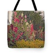 Hollyhocks Tote Bag by Kay Novy