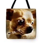 Hollywood Fifi Chika Chihuahua - Electric Art - With Text Tote Bag by Wingsdomain Art and Photography