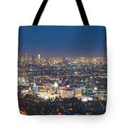 Hollywood Skyline Night Magic Hour Los Angeles Ca  Tote Bag by David Zanzinger