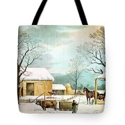 Home To Thanksgiving Tote Bag by Currier and Ives