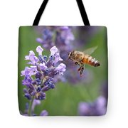 Honey Bee And Lavender Tote Bag by Rona Black