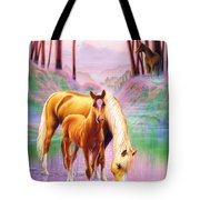 Horse And Foal Tote Bag by Andrew Farley
