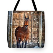 Horse And Snow Storm Tote Bag by Dan Friend
