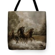 Horse Painting Escaping the Storm Tote Bag by Gina Femrite