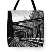 Horse Pen Creek Bridge Black And White Tote Bag by Sandi OReilly
