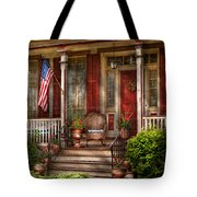 House - Porch - Belvidere Nj - A Classic American Home  Tote Bag by Mike Savad