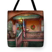 House - Porch - Metuchen Nj - That Yule Tide Spirit Tote Bag by Mike Savad