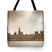 Houses Of Parliament And Elizabeth Tower In London Tote Bag by Semmick Photo