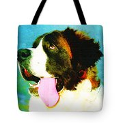 How Bout A Kiss - St Bernard Art by Sharon Cummings Tote Bag by Sharon Cummings