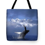 Humpback Whale Breaches In Clearing Fog Tote Bag by John Hyde