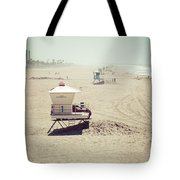Huntington Beach Lifeguard Tower #1 Vintage Picture Tote Bag by Paul Velgos