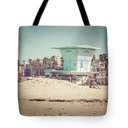 Huntington Beach Lifeguard Tower #5 Retro Picture Tote Bag by Paul Velgos