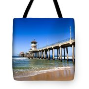 Huntington Beach Pier In Southern California Tote Bag by Paul Velgos