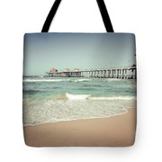 Huntington Beach Pier Vintage Toned Photo Tote Bag by Paul Velgos