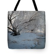 Ice Covered Tree And Creek In Montana Tote Bag by Bruce Gourley
