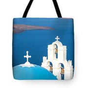 Iconic Blue Cupola Overlooking The Sea Santorini Greece Tote Bag by Matteo Colombo