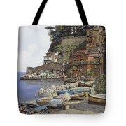 il porto di Sorrento Tote Bag by Guido Borelli
